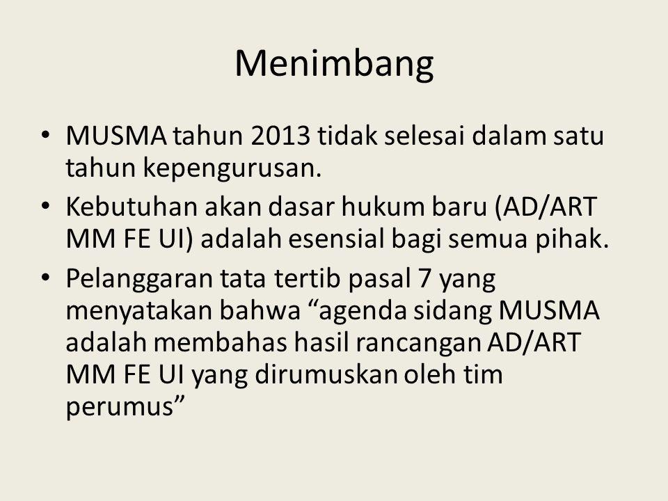Menimbang MUSMA tahun 2013 tidak selesai dalam satu tahun kepengurusan.