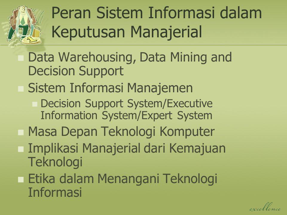 Peran Sistem Informasi dalam Keputusan Manajerial Data Warehousing, Data Mining and Decision Support Sistem Informasi Manajemen Decision Support Syste