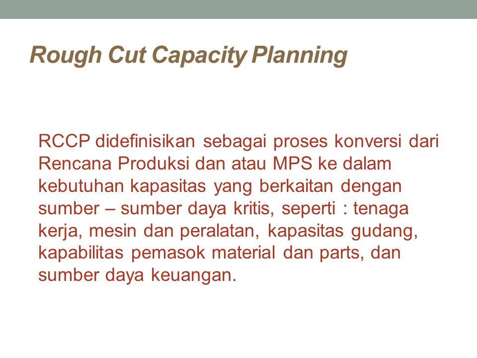 Rough Cut Capacity Planning RCCP didefinisikan sebagai proses konversi dari Rencana Produksi dan atau MPS ke dalam kebutuhan kapasitas yang berkaitan
