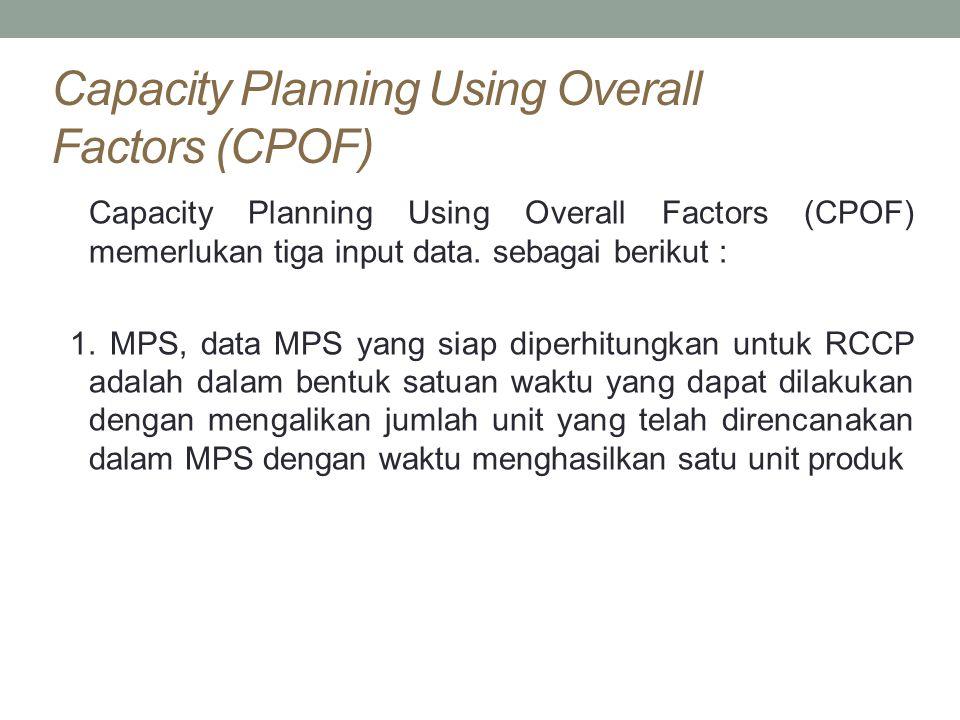 Capacity Planning Using Overall Factors (CPOF) Capacity Planning Using Overall Factors (CPOF) memerlukan tiga input data. sebagai berikut : 1. MPS, da