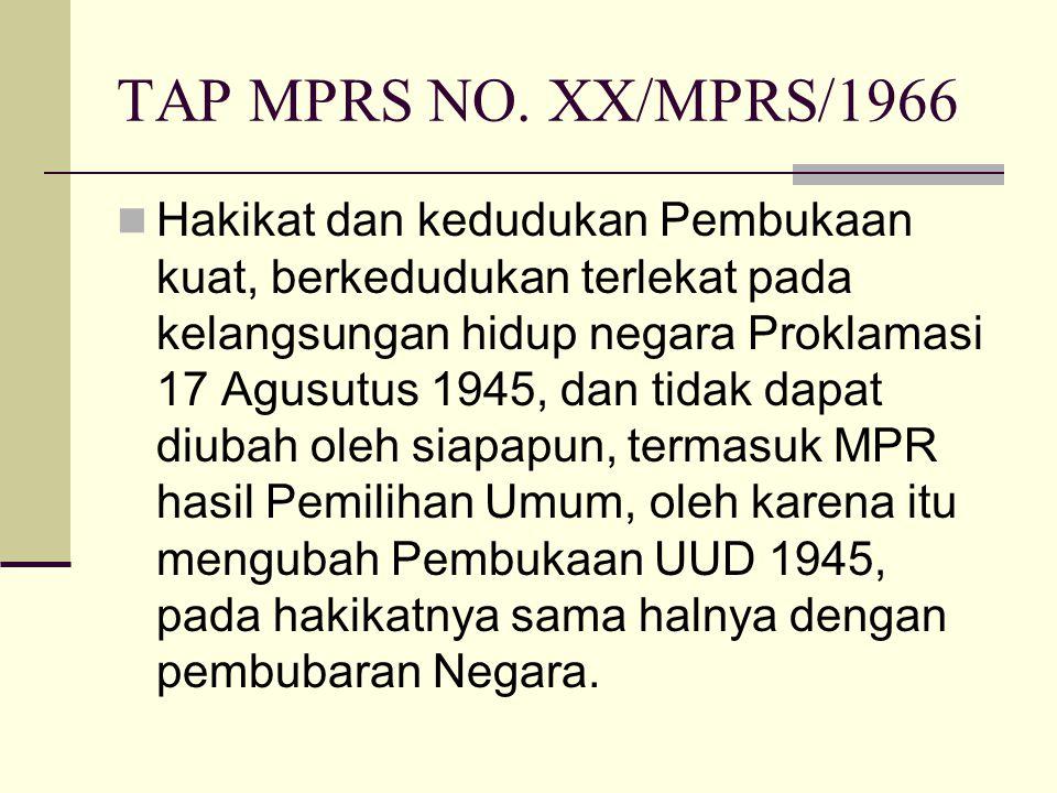 TAP MPRS NO. XX/MPRS/1966 Hakikat dan kedudukan Pembukaan kuat, berkedudukan terlekat pada kelangsungan hidup negara Proklamasi 17 Agusutus 1945, dan
