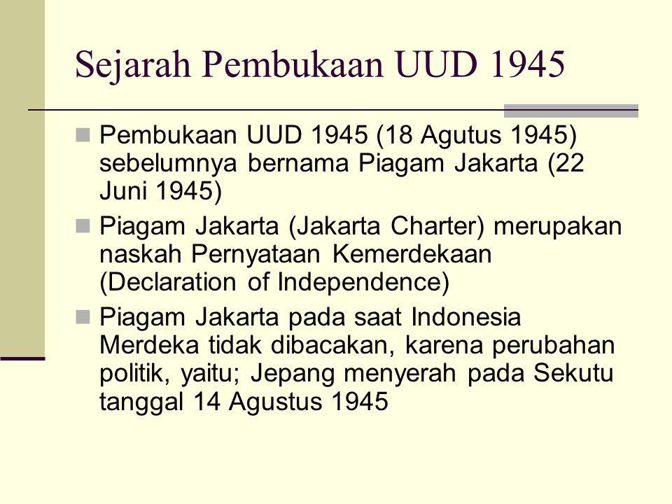 Sejarah Pembukaan UUD 1945 Pembukaan UUD 1945 (18 Agutus 1945) sebelumnya bernama Piagam Jakarta (22 Juni 1945) Piagam Jakarta (Jakarta Charter) merup