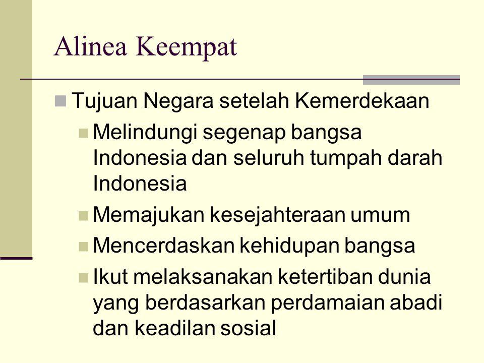 Alinea Keempat Tujuan Negara setelah Kemerdekaan Melindungi segenap bangsa Indonesia dan seluruh tumpah darah Indonesia Memajukan kesejahteraan umum M