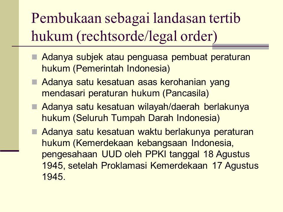 Pembukaan sebagai Staatsfundamentalnorm (Pokok Kaidah Fundamental Negara - PKFN) PKFN adalah norma dasar sebagai landasan berdirinya suatu negara, syarat-syarat PKFN; Dibuat oleh pembentuk negara – PPKI Memuat tujuan negara – 4 tujuan negara Adanya ketentuan bagi UUD/konstitusi Adanya asas politik - kedaulatan rakyat (demokrasi) Adanya asas kerohanian atau falsafat negara - Pancasila