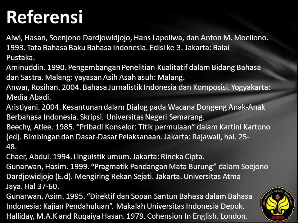 Referensi Alwi, Hasan, Soenjono Dardjowidjojo, Hans Lapoliwa, dan Anton M. Moeliono. 1993. Tata Bahasa Baku Bahasa Indonesia. Edisi ke-3. Jakarta: Bal
