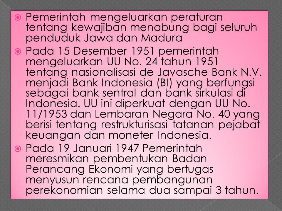  Pemerintah mengeluarkan peraturan tentang kewajiban menabung bagi seluruh penduduk Jawa dan Madura  Pada 15 Desember 1951 pemerintah mengeluarkan U