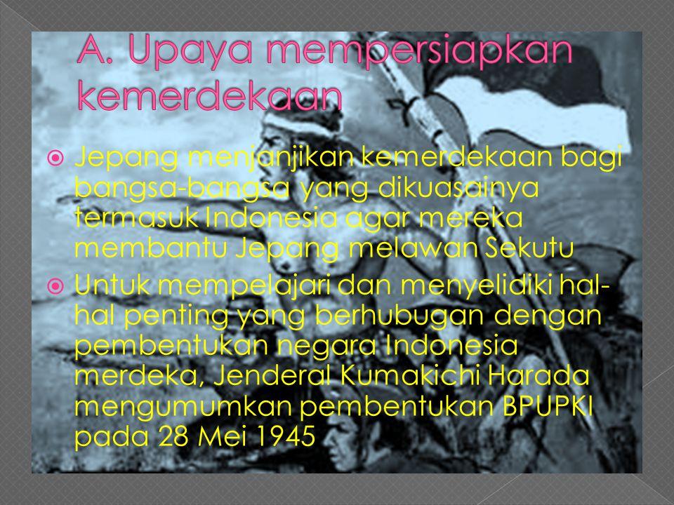  Jepang menjanjikan kemerdekaan bagi bangsa-bangsa yang dikuasainya termasuk Indonesia agar mereka membantu Jepang melawan Sekutu  Untuk mempelajari