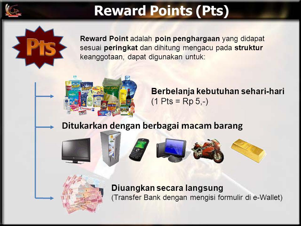 Reward Points (Pts) Reward Point adalah poin penghargaan yang didapat sesuai peringkat dan dihitung mengacu pada struktur keanggotaan, dapat digunakan
