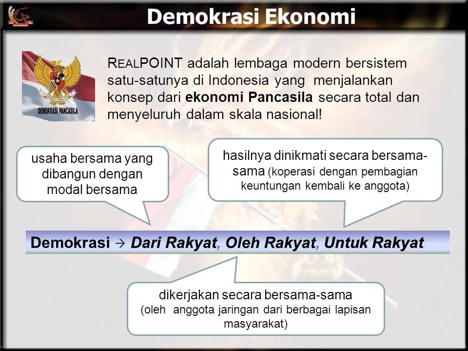 Demokrasi Ekonomi Demokrasi  Dari Rakyat, Oleh Rakyat, Untuk Rakyat R EAL POINT adalah lembaga modern bersistem satu-satunya di Indonesia yang menjal