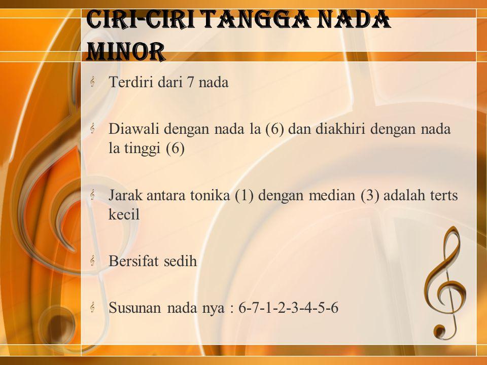 Ciri-ciri Tangga Nada Minor Terdiri dari 7 nada Diawali dengan nada la (6) dan diakhiri dengan nada la tinggi (6) Jarak antara tonika (1) dengan media