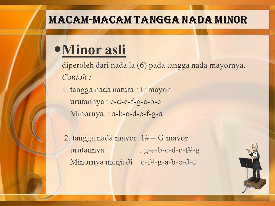 Macam-macam tangga nada minor Minor asli diperoleh dari nada la (6) pada tangga nada mayornya. Contoh : 1. tangga nada natural: C mayor urutannya : c-