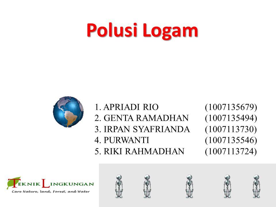 Polusi Logam 1. APRIADI RIO(1007135679) 2. GENTA RAMADHAN(1007135494) 3. IRPAN SYAFRIANDA(1007113730) 4. PURWANTI(1007135546) 5. RIKI RAHMADHAN(100711
