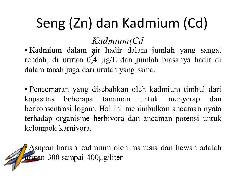 Seng (Zn) dan Kadmium (Cd) Kadmium(Cd ) Kadmium dalam air hadir dalam jumlah yang sangat rendah, di urutan 0,4 µg/L dan jumlah biasanya hadir di dalam tanah juga dari urutan yang sama.