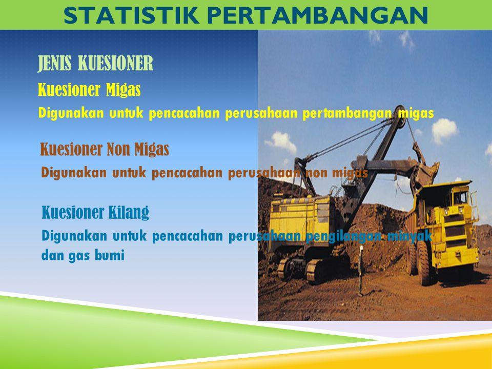 Kuesioner Migas Digunakan untuk pencacahan perusahaan pertambangan migas Digunakan untuk pencacahan perusahaan non migas STATISTIK PERTAMBANGAN JENIS