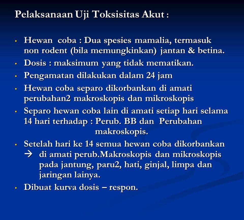 Pelaksanaan Uji Toksisitas Akut : Hewan coba : Dua spesies mamalia, termasuk non rodent (bila memungkinkan) jantan & betina. Hewan coba : Dua spesies