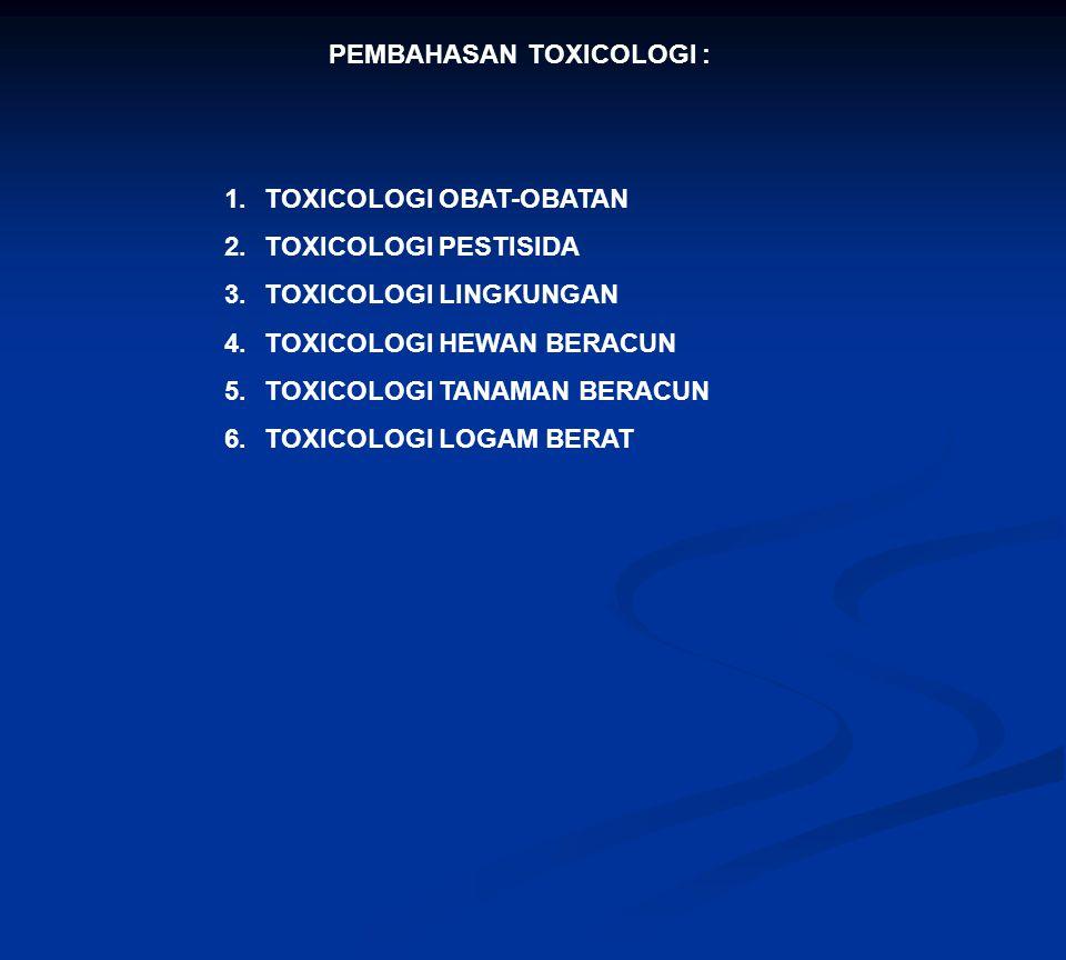 PEMBAHASAN TOXICOLOGI : 1.TOXICOLOGI OBAT-OBATAN 2.TOXICOLOGI PESTISIDA 3.TOXICOLOGI LINGKUNGAN 4.TOXICOLOGI HEWAN BERACUN 5.TOXICOLOGI TANAMAN BERACU