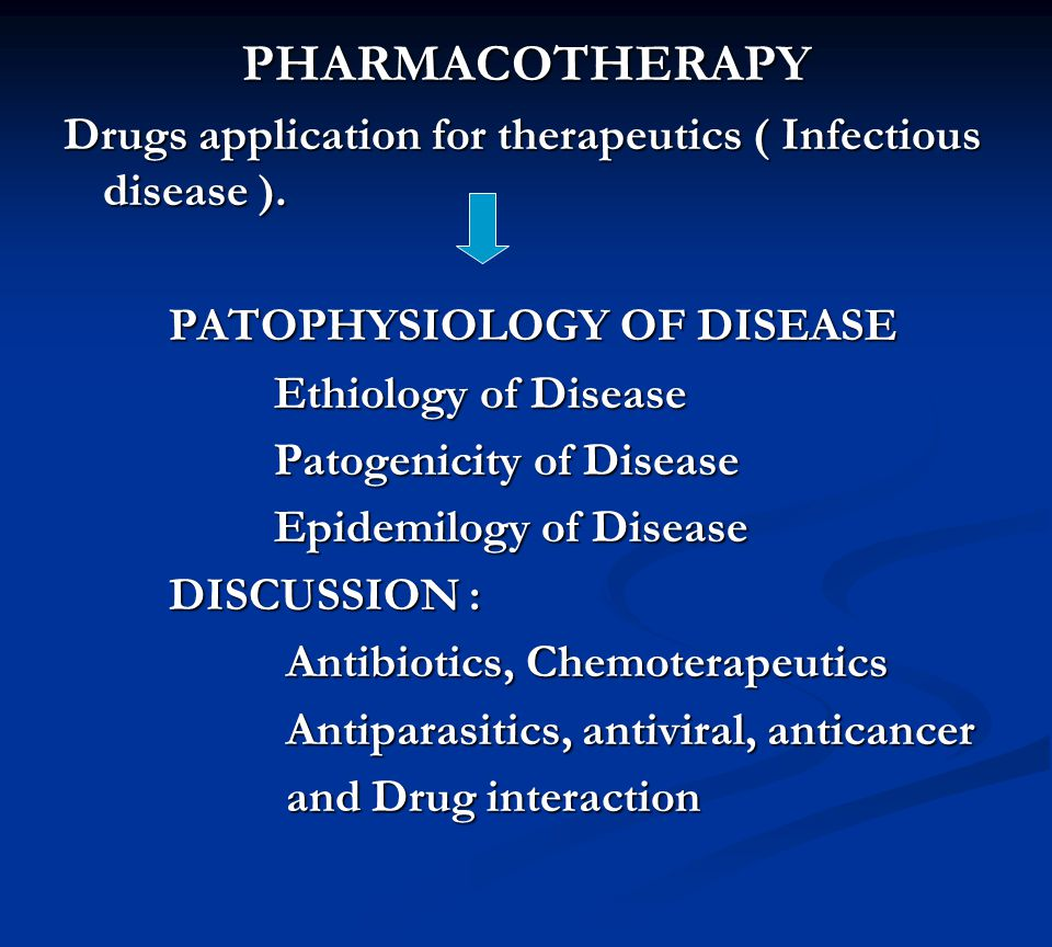PHARMACOTHERAPY Drugs application for therapeutics ( Infectious disease ).