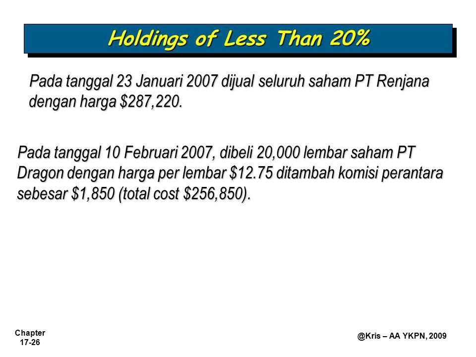 Chapter 17-26 @Kris – AA YKPN, 2009 Pada tanggal 23 Januari 2007 dijual seluruh saham PT Renjana dengan harga $287,220. Holdings of Less Than 20% Pada