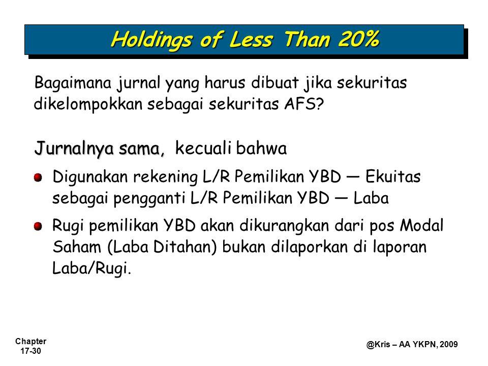 Chapter 17-30 @Kris – AA YKPN, 2009 Bagaimana jurnal yang harus dibuat jika sekuritas dikelompokkan sebagai sekuritas AFS? Holdings of Less Than 20% J