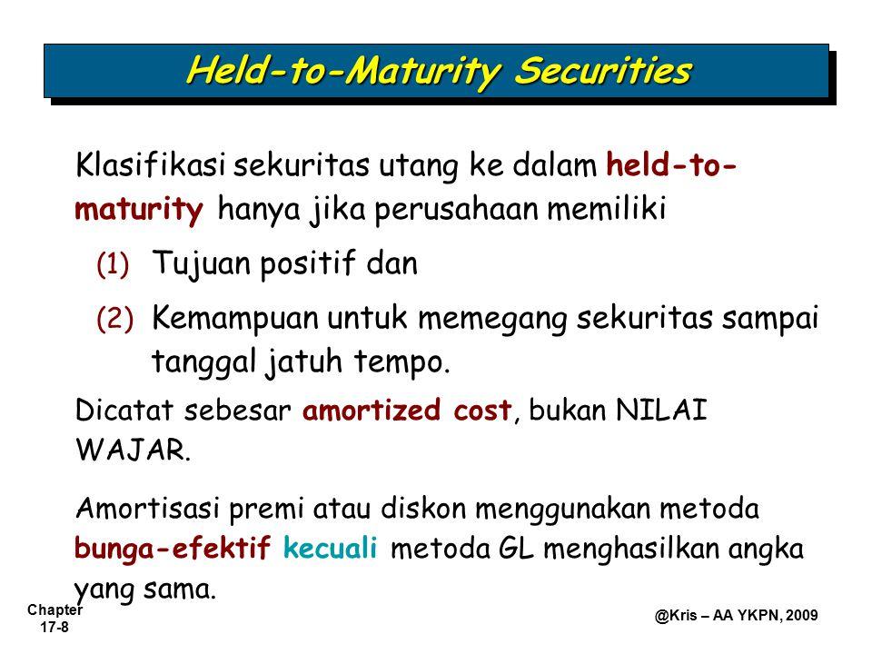 Chapter 17-8 @Kris – AA YKPN, 2009 Held-to-Maturity Securities Klasifikasi sekuritas utang ke dalam held-to- maturity hanya jika perusahaan memiliki (