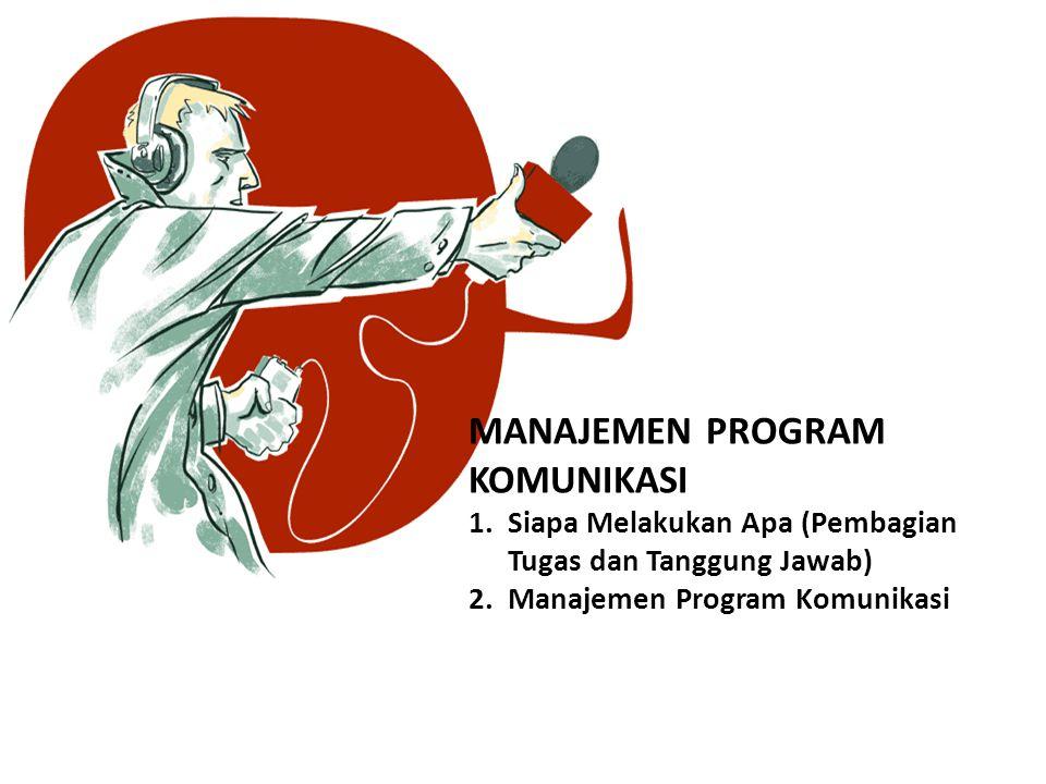 MANAJEMEN PROGRAM KOMUNIKASI 1.Siapa Melakukan Apa (Pembagian Tugas dan Tanggung Jawab) 2.Manajemen Program Komunikasi