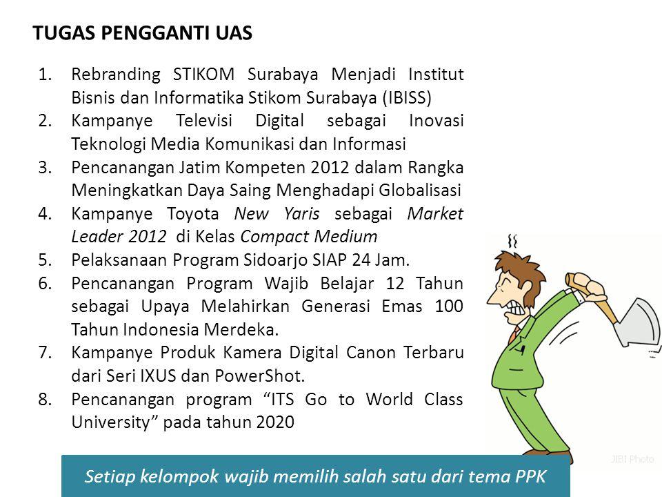 1.Rebranding STIKOM Surabaya Menjadi Institut Bisnis dan Informatika Stikom Surabaya (IBISS) 2.Kampanye Televisi Digital sebagai Inovasi Teknologi Med