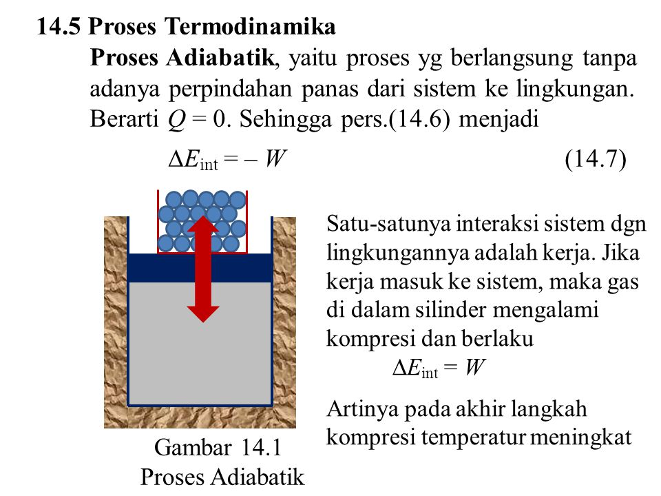 14.5 Proses Termodinamika Proses Adiabatik, yaitu proses yg berlangsung tanpa adanya perpindahan panas dari sistem ke lingkungan. Berarti Q = 0. Sehin