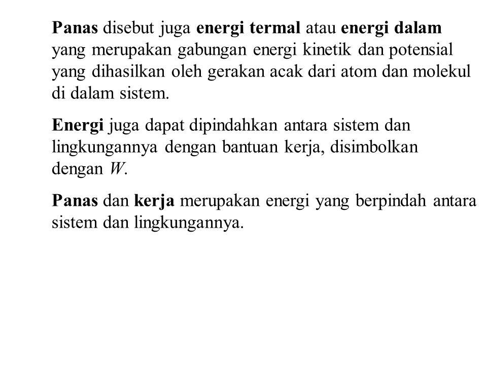 Panas disebut juga energi termal atau energi dalam yang merupakan gabungan energi kinetik dan potensial yang dihasilkan oleh gerakan acak dari atom da