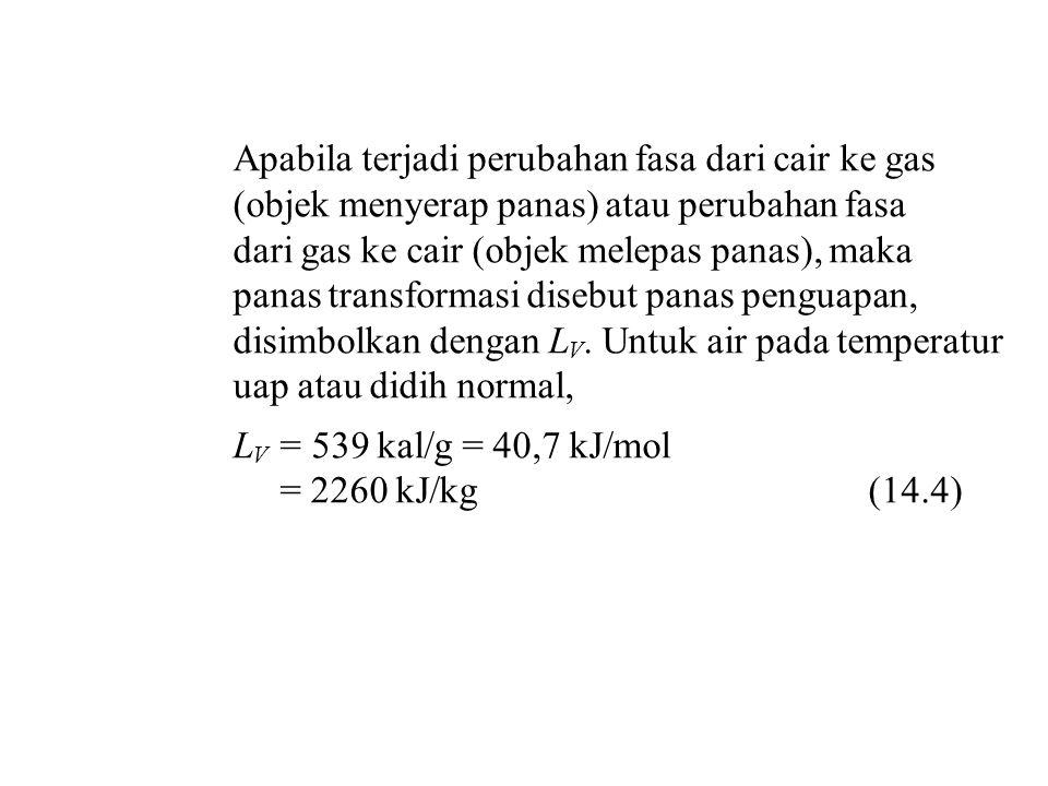 Apabila terjadi perubahan fasa dari cair ke gas (objek menyerap panas) atau perubahan fasa dari gas ke cair (objek melepas panas), maka panas transfor