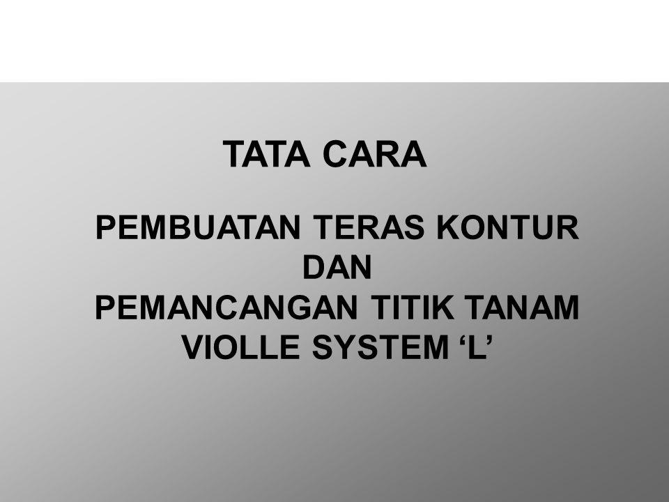 PEMBUATAN TERAS KONTUR DAN PEMANCANGAN TITIK TANAM VIOLLE SYSTEM 'L' TATA CARA Agronomy Audit & Advisory