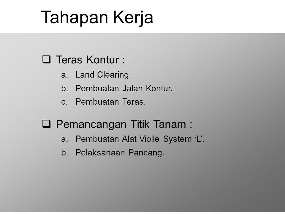 Tahapan Kerja  Teras Kontur : a.Land Clearing.b.Pembuatan Jalan Kontur.