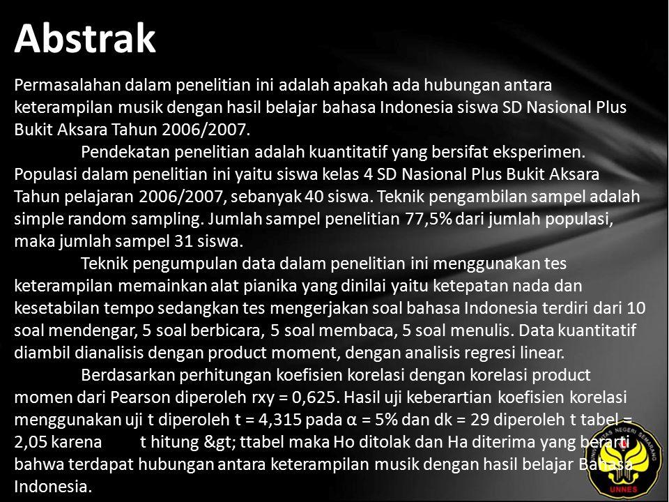 Abstrak Permasalahan dalam penelitian ini adalah apakah ada hubungan antara keterampilan musik dengan hasil belajar bahasa Indonesia siswa SD Nasional Plus Bukit Aksara Tahun 2006/2007.