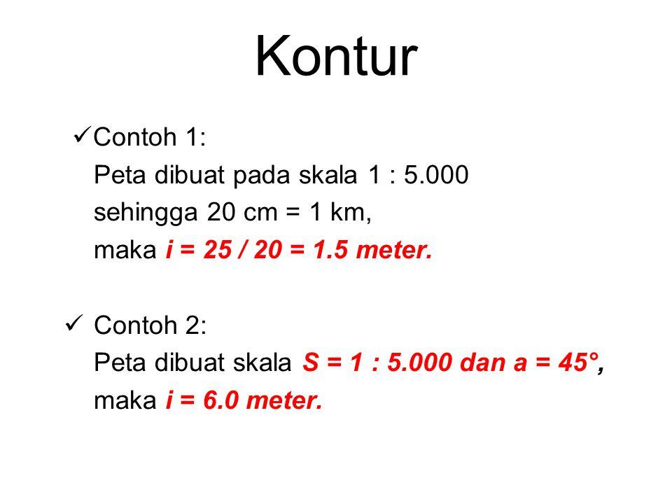 Kontur Contoh 1: Peta dibuat pada skala 1 : 5.000 sehingga 20 cm = 1 km, maka i = 25 / 20 = 1.5 meter. Contoh 2: Peta dibuat skala S = 1 : 5.000 dan a