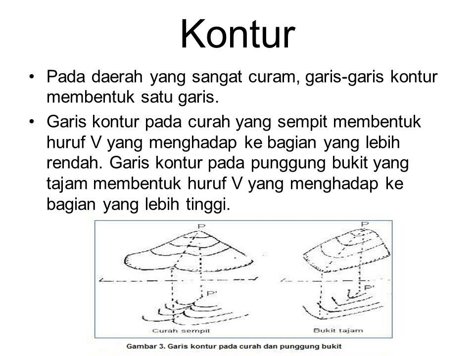 Pembuatan Garis Kontur Jarak kontur 5 m 673,4 m 696,2 m Garis kontur yang memotong: 675,0 m 680,0 m 685,0 m 690,0 m 695,0 m