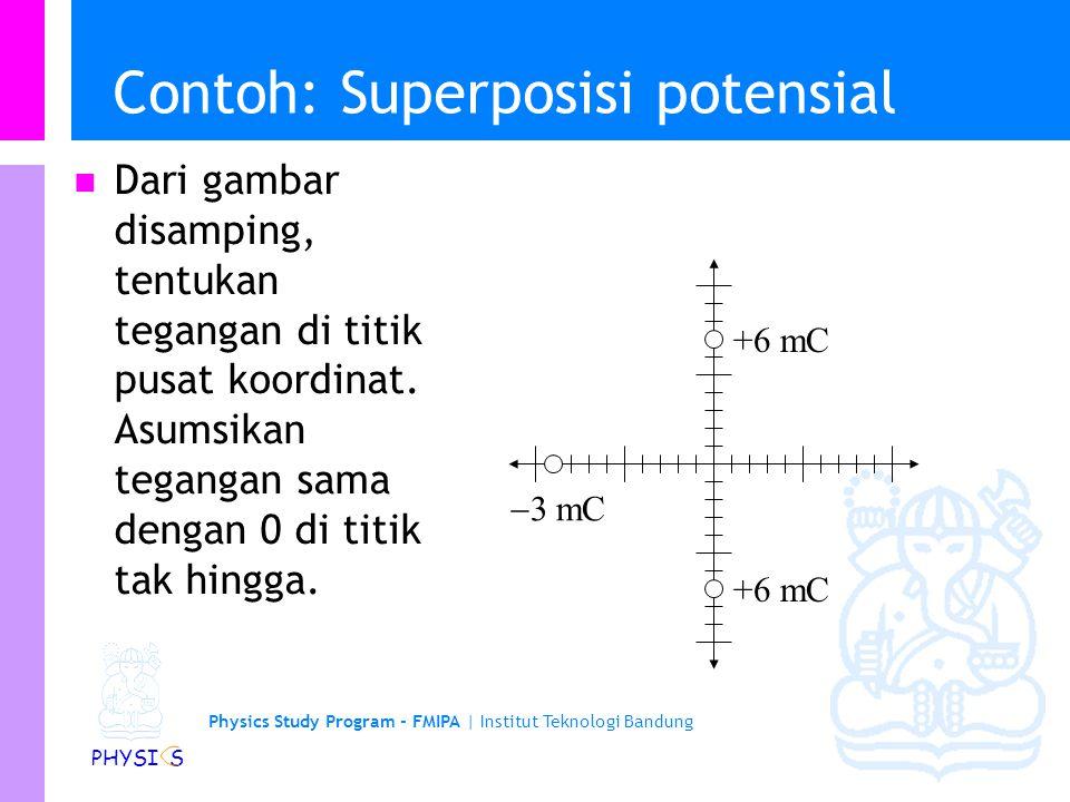 Physics Study Program - FMIPA | Institut Teknologi Bandung PHYSI S Superposisi Potensial Listrik Dengan menggunakan titik acuan di tak hingga, kita da