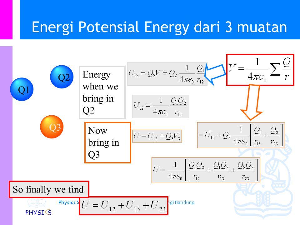 Physics Study Program - FMIPA | Institut Teknologi Bandung PHYSI S Contoh: Superposisi potensial Dari gambar disamping, tentukan tegangan di titik pus