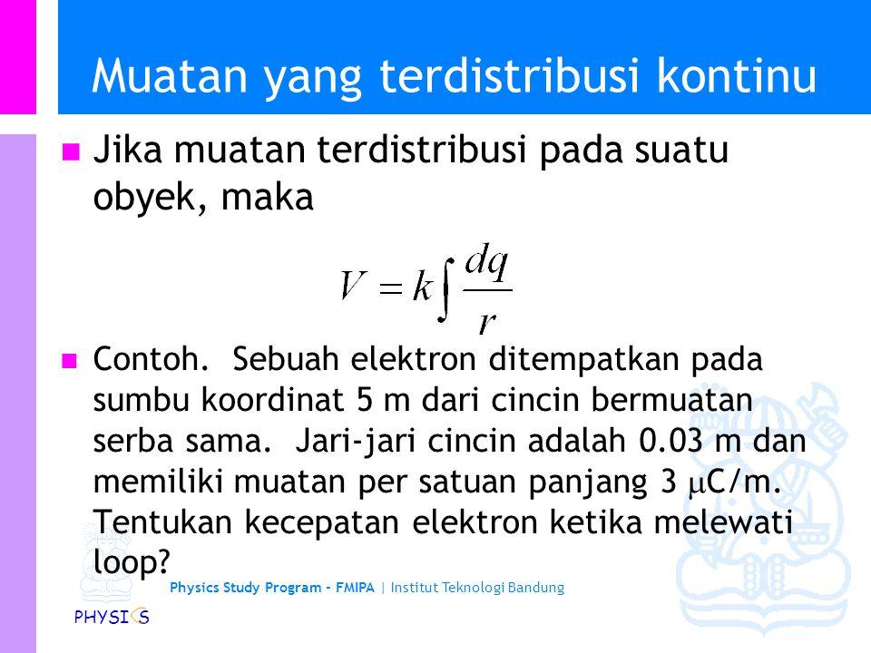 Physics Study Program - FMIPA | Institut Teknologi Bandung PHYSI S Energi Potensial Energy dari 3 muatan Q2Q1Q3 Energy when we bring in Q2 Now bring i