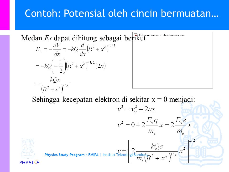 Physics Study Program - FMIPA | Institut Teknologi Bandung PHYSI S Contoh: Potensial oleh cincin bermuatan Sebuah elektron diletakkan pada jarak 5 m d