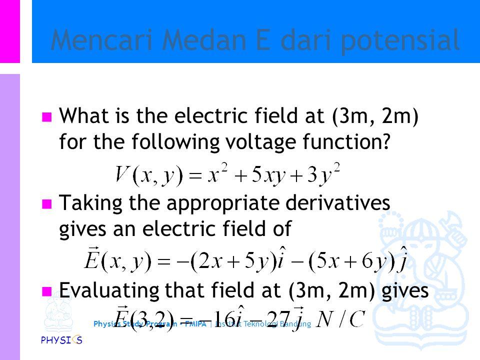 Physics Study Program - FMIPA | Institut Teknologi Bandung PHYSI S Medan listrik dari Potential listrik Laju perubahan tegangan/potensial berhubungan