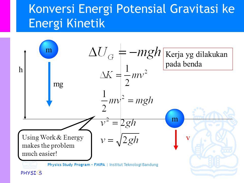 Physics Study Program - FMIPA | Institut Teknologi Bandung PHYSI S Seseorang mengangkat sebat kotak yang berat dengan massa m ke ketinggian vertikal h