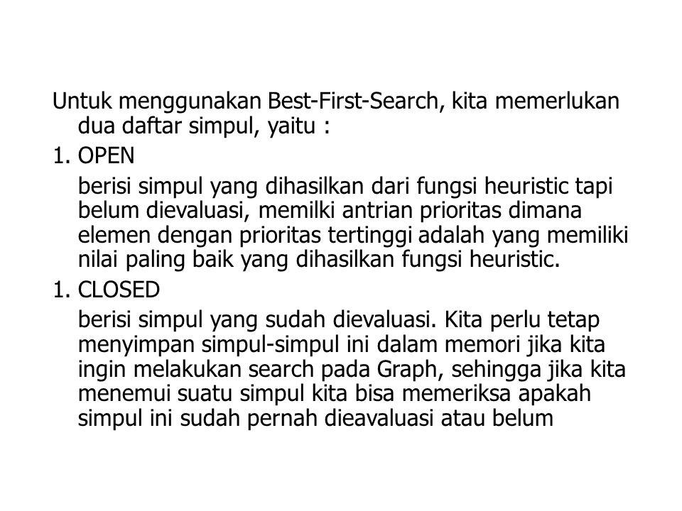 Untuk menggunakan Best-First-Search, kita memerlukan dua daftar simpul, yaitu : 1.OPEN berisi simpul yang dihasilkan dari fungsi heuristic tapi belum