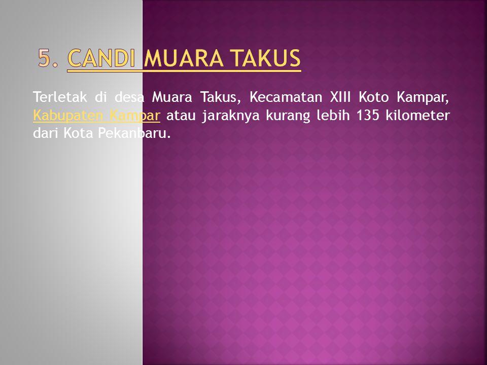 Terletak di desa Muara Takus, Kecamatan XIII Koto Kampar, Kabupaten Kampar atau jaraknya kurang lebih 135 kilometer dari Kota Pekanbaru.