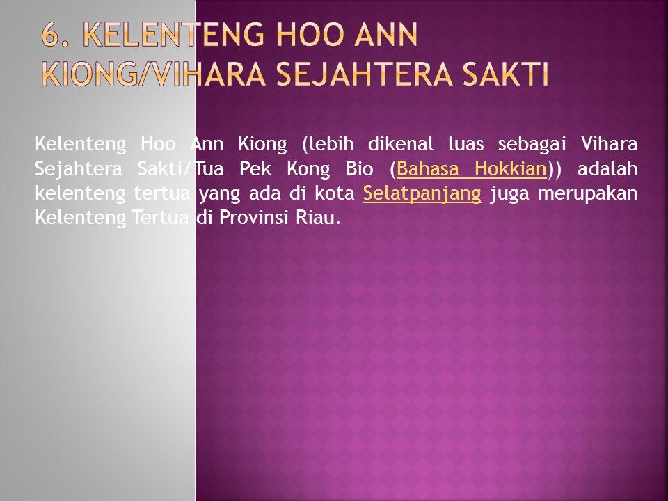 Kelenteng Hoo Ann Kiong (lebih dikenal luas sebagai Vihara Sejahtera Sakti/Tua Pek Kong Bio (Bahasa Hokkian)) adalah kelenteng tertua yang ada di kota Selatpanjang juga merupakan Kelenteng Tertua di Provinsi Riau.Bahasa HokkianSelatpanjang