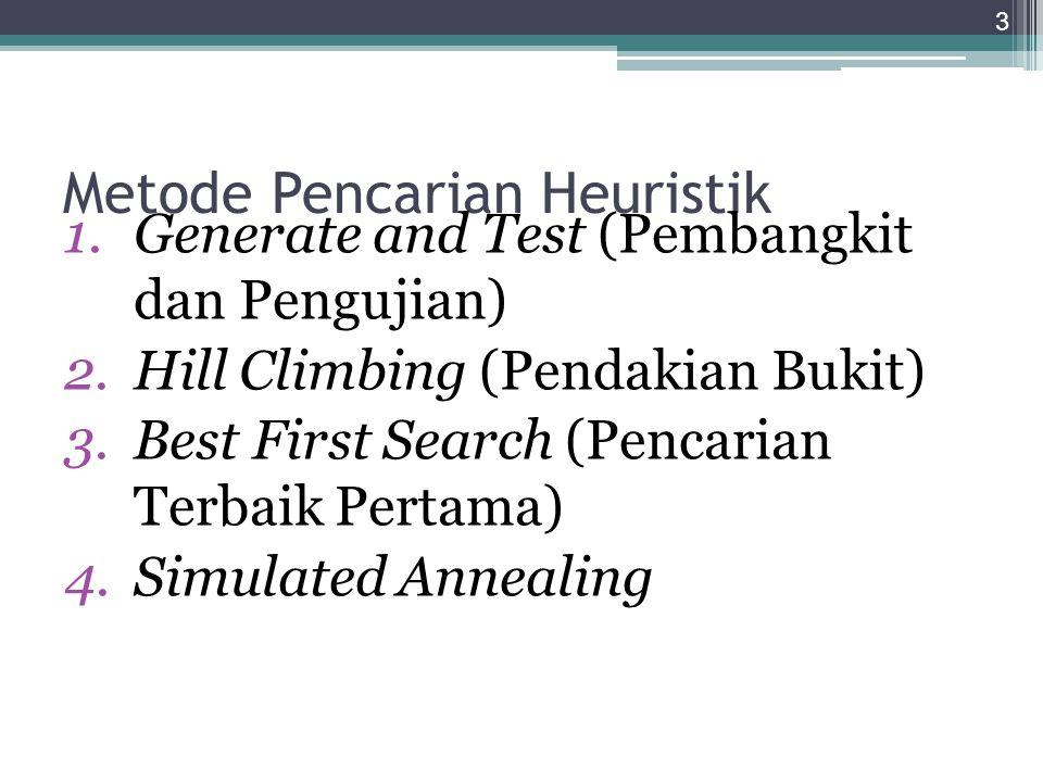 Metode Pencarian Heuristik 1.Generate and Test (Pembangkit dan Pengujian) 2.Hill Climbing (Pendakian Bukit) 3.Best First Search (Pencarian Terbaik Per