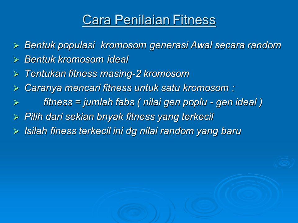 Cara Penilaian Fitness  Bentuk populasi kromosom generasi Awal secara random  Bentuk kromosom ideal  Tentukan fitness masing-2 kromosom  Caranya m