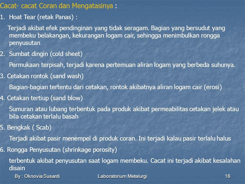 By : Oknovia SusantiLaboratorium Metalurgi16 Cacat- cacat Coran dan Mengatasinya : 1.Hoat Tear (retak Panas) : Terjadi akibat efek pendinginan yang tidak seragam.
