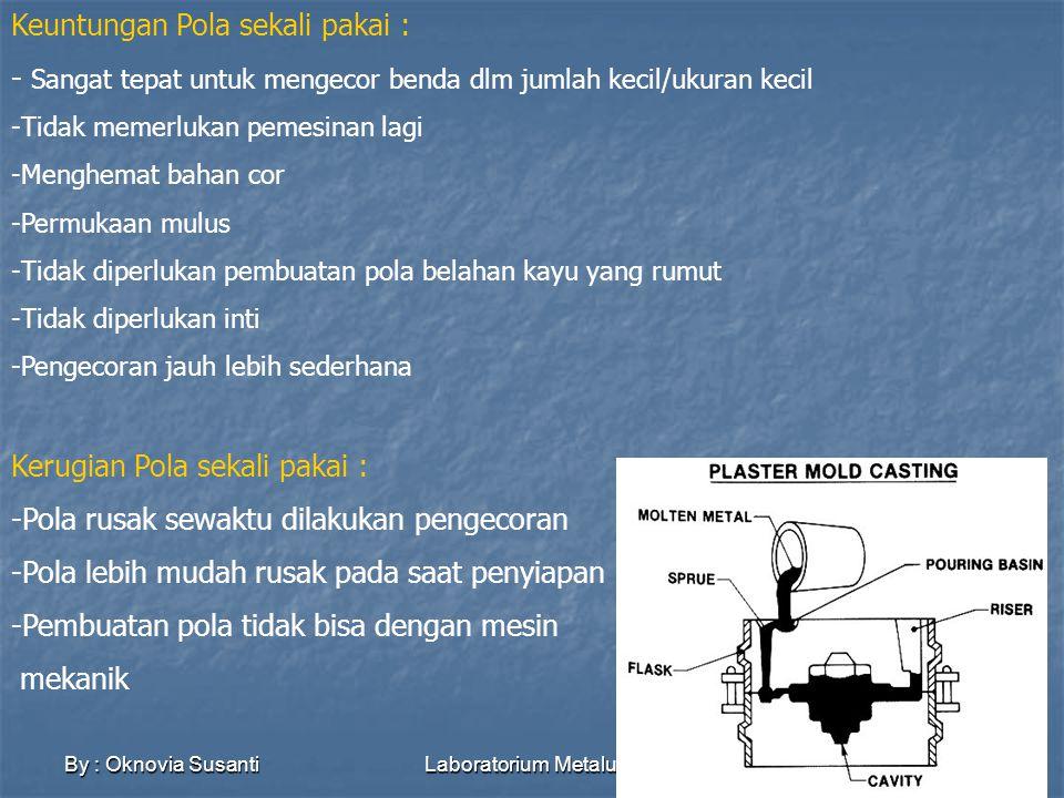 By : Oknovia SusantiLaboratorium Metalurgi6 CETAKAN CETAKAN HARUS SEMPURNA, benda cor tak mungkin lebih baik dari cetakan CETAKAN DIKLASIFIKASIKAN BERDASARKAN BAHAN YANG DIGUNAKAN PASIR (SAND) Dapat didaur ulang:ramah lingkungan Cocok untuk produk massal Biaya cetakan murah Proses pendinginan/pembekuan logam lambat Permukaan hasil cor(casting) kasar, tidak halus Dimensi kurang akurat