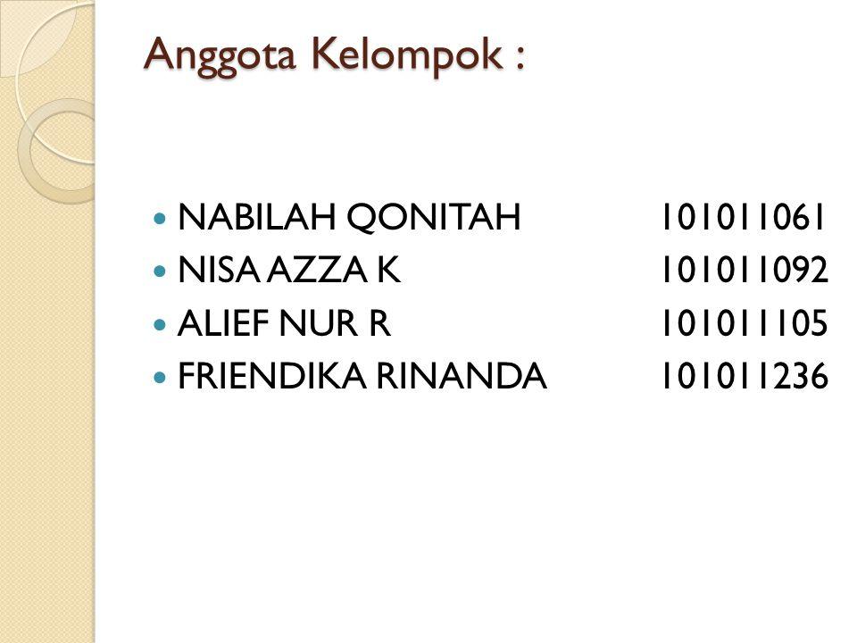 Anggota Kelompok : NABILAH QONITAH101011061 NISA AZZA K101011092 ALIEF NUR R 101011105 FRIENDIKA RINANDA101011236