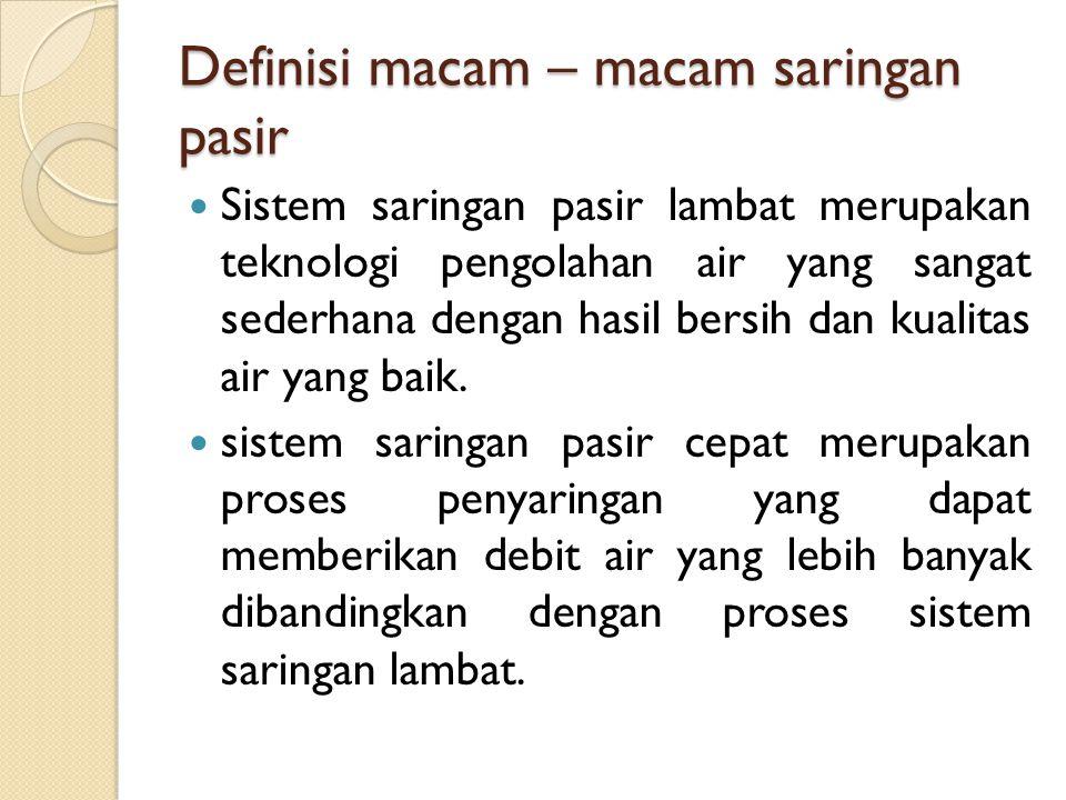 Definisi macam – macam saringan pasir Sistem saringan pasir lambat merupakan teknologi pengolahan air yang sangat sederhana dengan hasil bersih dan ku