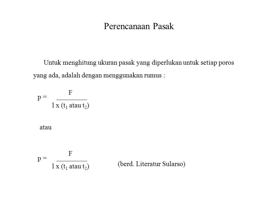 Perencanaan Pasak Untuk menghitung ukuran pasak yang diperlukan untuk setiap poros yang ada, adalah dengan menggunakan rumus : p = F l x (t 1 atau t 2